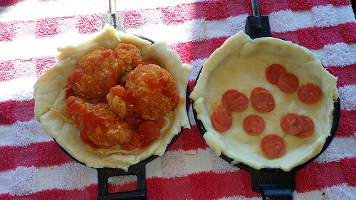 Putting together a Pepperoni Chicken Pudgy Pie